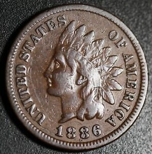 1886-INDIAN-HEAD-CENT-With-LIBERTY-Near-VF-VERY-FINE-T1-Type-1