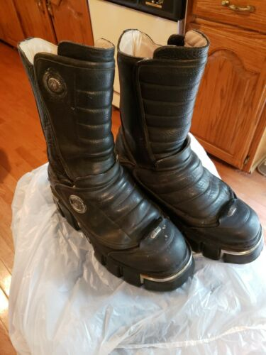 New Rock Mens Black Leather Boots Size 11 1/2 Indu