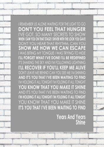 SHINE YEARS AND YEARS  Typography Words Song Lyric Lyrics