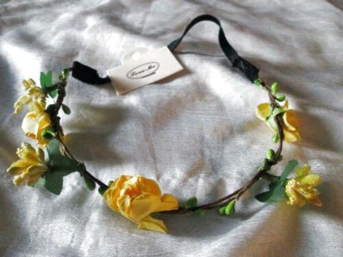 ROSE FLOWER HEAD BAND HAIR DRESS YELLOW WEDDING BRIDAL