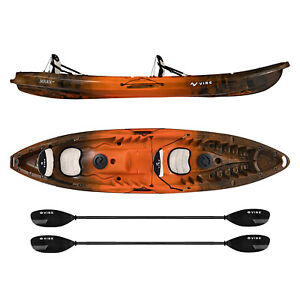 Vibe-Skipjack-120T-12-039-Two-Person-Fishing-Rec-Kayak-2-Paddles-Built-In-Seats