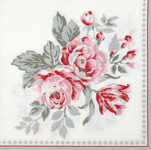 4 Lunch Paper Napkins  Decoupage Craft Vintage Napkin Grey  Bouquet GreenGate