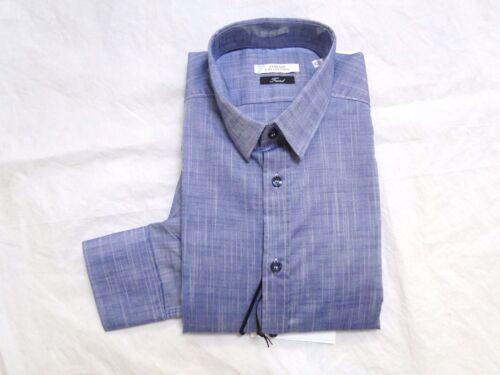 NEW VERSACE COLLECTION TREND BLUE DENIM DRESS BUTTON UP SHIRT 16.5 42