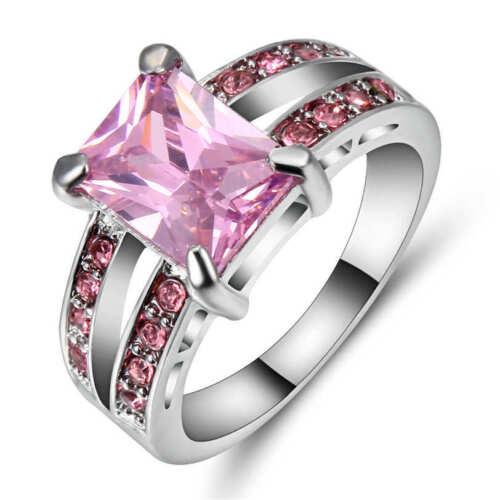 Classique Carré Rose Aigue-marine anneau mariage 18K or blanc rempli Band Taille 7