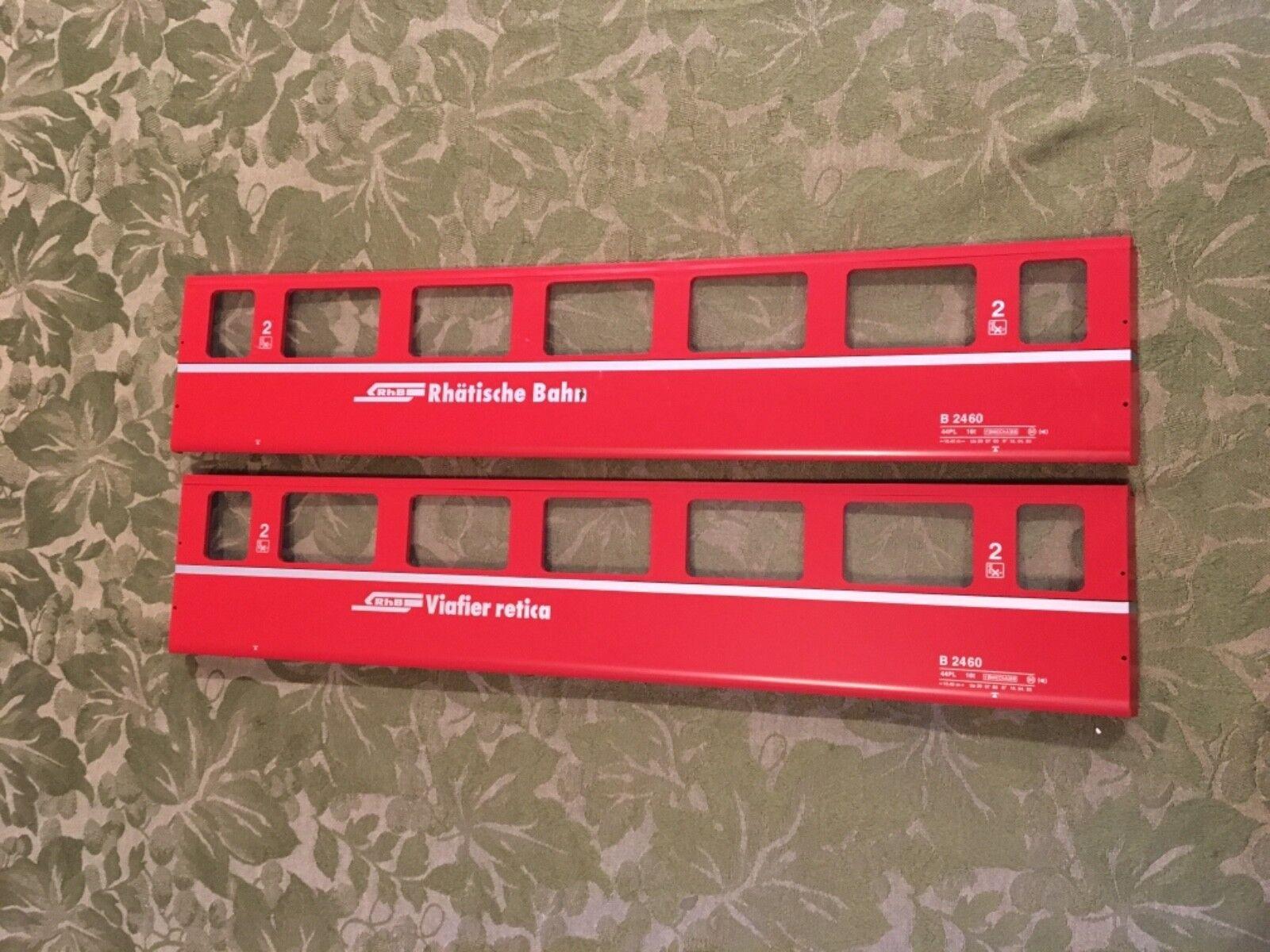 2 Rare LGB RHB Swiss 3067 series Passenger Car Replcement Side Panels & Windows