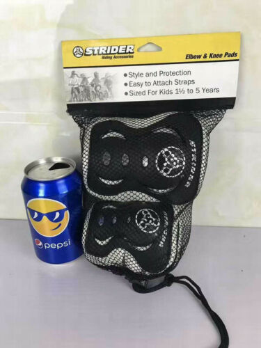 New Strider Knee Elbow Pad Set Black Toddler Accessory Kids Toy Gift Play Child