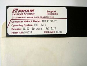 Priam-Rel-ID-ED-3-13-For-DOS-3-xx-IBM-AT-XT-PC-On-One-5-25-034-Floppy-Disk-1984