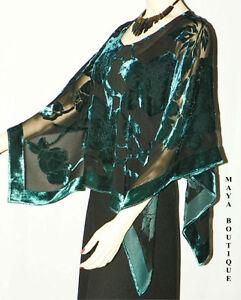 Silk-Burnout-Velvet-Poncho-Kimono-Top-Turquoise-amp-Black-No-Fringe-Maya-Matazaro