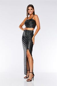 80abae2afbcf Ex QUIZ TOWIE Black and Silver Sequin Split Skirt - £9.99 - SIZES: 10 ...