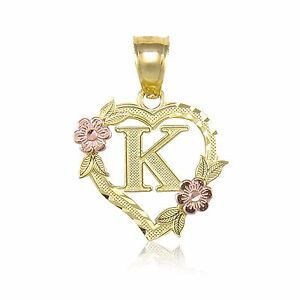 14k yellow gold heart initial letter pendant a z alphabet flower image is loading 14k yellow gold heart initial letter pendant a z aloadofball Images