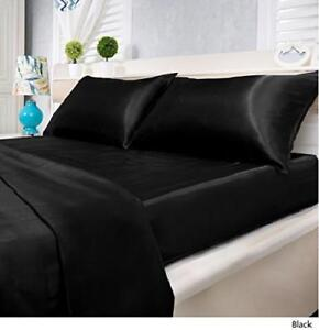 Image Is Loading Black Satin Sheets Queen Size Sheet Set Full