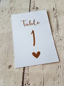 Image Is Loading Rose Gold Foil Wedding Table Numbers 1 10