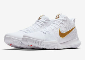 brand new 20517 b20c9 Image is loading Nike-Kyrie-3-Finals-EP-White-Gold-Red-