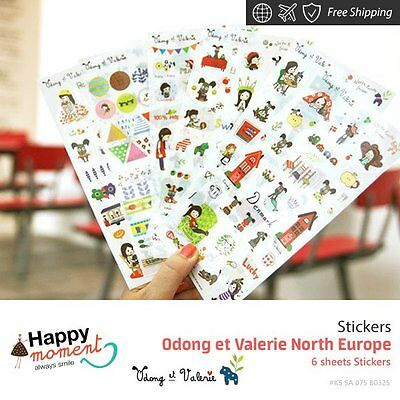 Odong et Valerie North Europe Stickers Scrapbook diary gift memory love 6 sheets