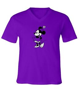 Disney-Classic-Minnie-Mouse-Black-amp-White-Men-Women-Unisex-V-Neck-Top-T-Shirt