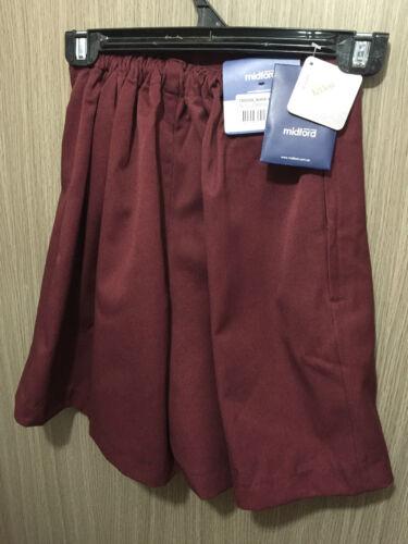 BNWT Girls Maroon Midford Brand Sz 18 School Uniform Skort Style Culottes