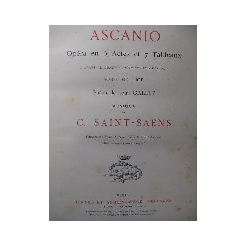 SAINT-SAËNS Camille Ascanio Opera 1890 partition sheet music score