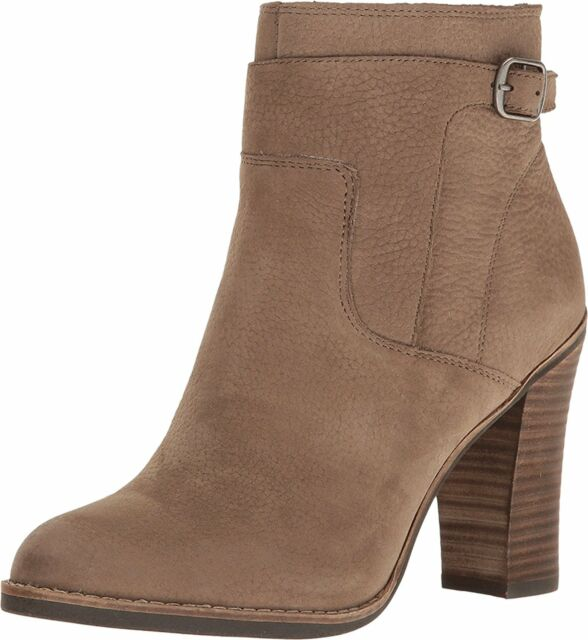 Lucky Brand Women's Minkk Side Zip Leather Ankle Booties Brindle