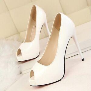 Plataforma De Zapatos Cm Piel Blanco Talón Detalles Salón 12 Abierto Elegantes Alto 2IWE9DHY