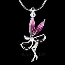 w Swarovski Crystal ~Purple Fairy Tinkerbell~ Tinker Bell ANGEL Necklace Jewelry