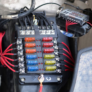 12-Fach-KFZ-PKW-Auto-Boot-Blade-Sicherungskasten-Halter-LED-Warnleuchten-24-Fuse