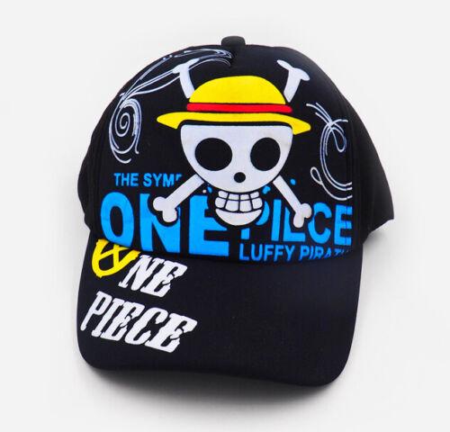 Luffy Baseball Cap Black Mens Snapback Hat Basecap Anime ONE PIECE Monkey D