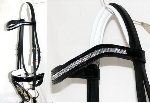FSS SHINING Curve U 3x Row Mesh Crystal Bling WHITE Comfort PATENT GLOSS Bridle