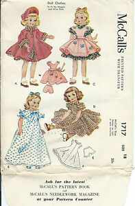 """M 1717 sewing pattern 18"""" DOLL CLOTHES Maggie Alice 50's Dress Coat Hat Pinafore"""