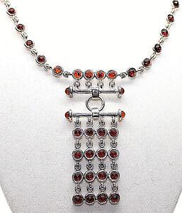 AMBER-Deep-Orange-Color-Cabochon-Bezel-Set-PENDANT-Sterling-Silver-17-034-Long-New