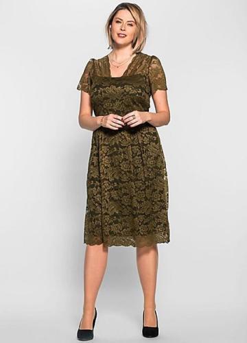 Ladies Khaki Green Lace Effect Dress- Anna Scholz- Short Sleeves- UK Size 26-NEW