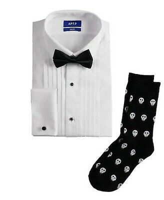 9 Slim Fit White Tuxedo Shirt /& Bow Tie Gift Set Sizes L  2XL Men/'s New Apt