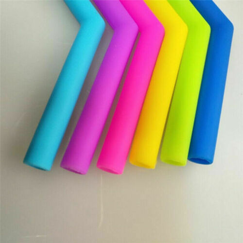 Reusable Silicone Drinking Straw Food Grade Straw Cleaning Brush Set 7pcs