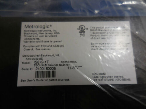 Metrologic Instruments IS872-1TM// SCAN87201// Tech 8 Laser Bar Code Scanner