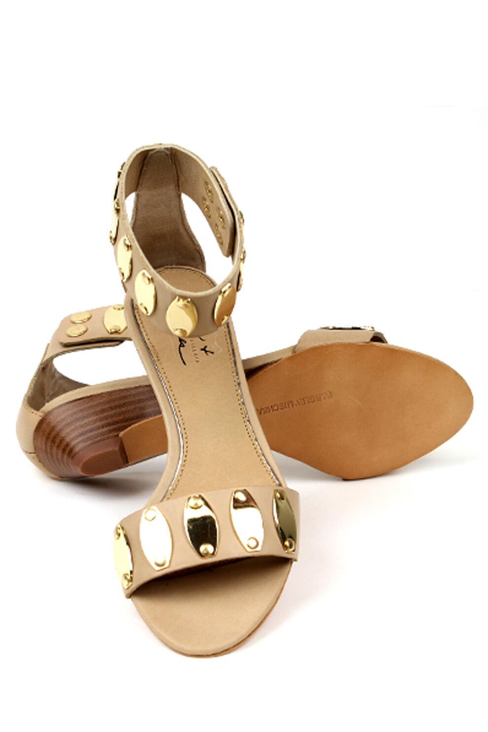 Mark & James Badgley Mischka Marissa Tan Gold 5 Leder Sandale Schuhes NEW