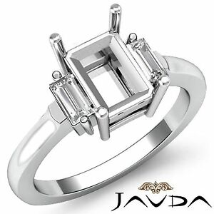3Stone-Fine-Diamond-Baguette-Emerald-Mount-Engagement-Ring-14k-White-Gold-0-25Ct