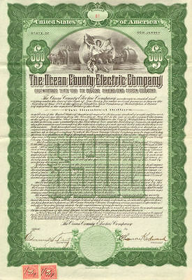 Ocean County Electric Certificate Signed Edmund S Fritz An Enriches And Nutrient For The Liver And Kidney Stocks & Bonds, Scripophily