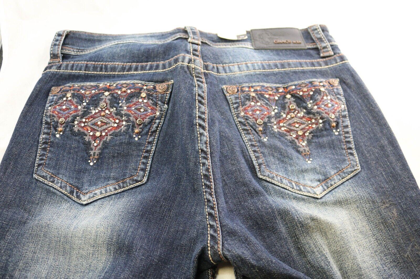 GRACE in LA Easy Fit Dark Wash Tribal Design Boot Cut Denim Jeans