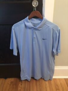 Blue-Nike-Polo-Large-Carolina-Blue-Short-Sleeve-Men-039-s-Golf-L-Free-Shipping