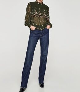 4f2a1f61dc94 Image is loading ZARA-KHAKI-GREEN-FLORAL-EMBROIDERED-BLOUSE-WITH-RUFFLES-