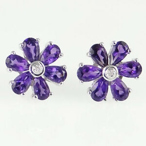 Sterling-Silver-Amethyst-and-Diamond-Cluster-Earrings