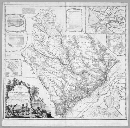 HUGE  1773 SC MAP Seneca Tega Cay Walhalla SOUTH CAROLINA HISTORY SURNAMES !!!