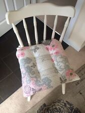 Set Of Two Shabby Chic Style Grey Pink White Seat Pads Kitchen Chair Cushions