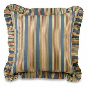 WAKEFIELD BLUE STRIPE EURO SHAM : COLONIAL WILLIAMSBURG RED STRIPED PILLOW COVER