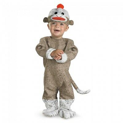 Boys Sock Monkey Costume Infant Toddler Animal Suit Halloween Outfit 12-18M NEW