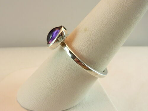 12 Gr. Authentic 925 Large Oval Purple Amethyst Cabochon Ring