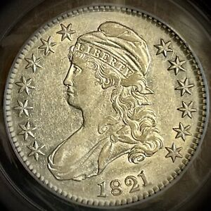 1821 capped bust half dollar pcgs xf45