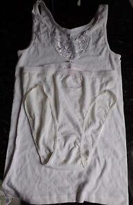 Damen-Garnitur-Unterhemd-mit-Slip-weiss-Gr-44-46