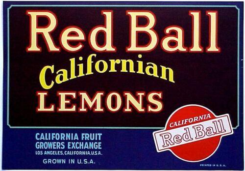 *Original* RED BALL Californian Fruit Los Angeles Lemon Crate Label NOT A COPY