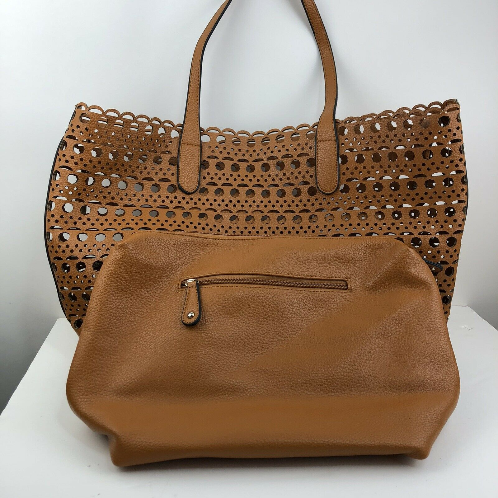 Street Level Women's Tote Bag Cut Out Travel Brown Size Large Purse With Wallet