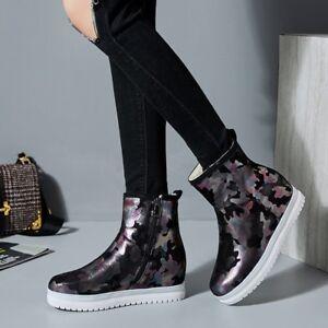 UK-Women-Winter-Warm-Ankle-Boots-Mid-Hidden-Heel-Camouflage-Fur-Lined-Snow-Boots